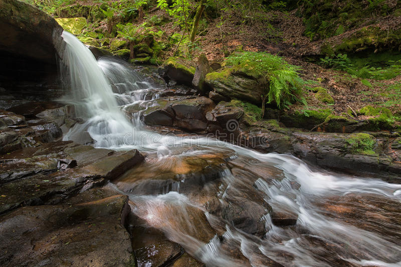 Melincourt. The stream that supplies Melicourt Falls with water, near Resolven, Neath, South Wales stock photography