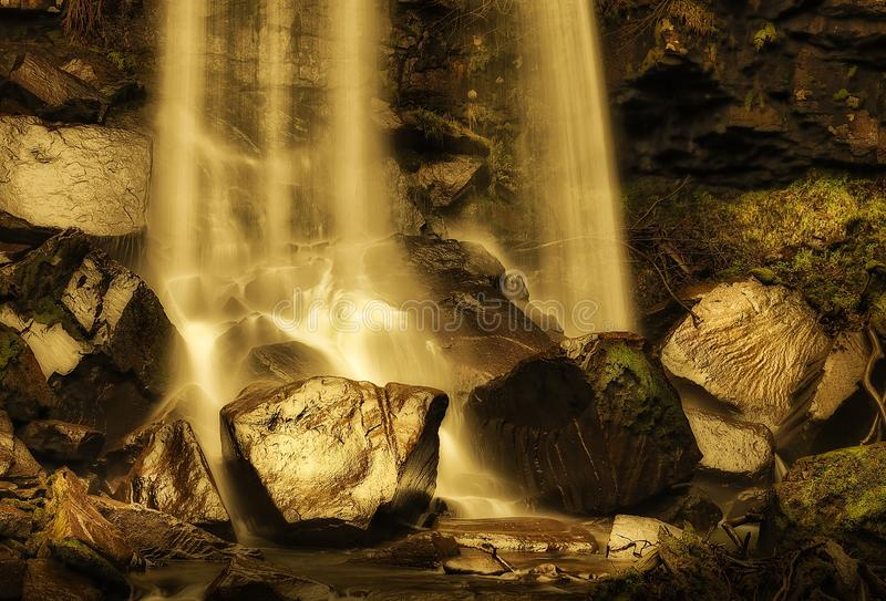 Melincourt waterfall. Beautiful Melincourt waterfalls in Resolven, near Neath, South Wales royalty free stock images