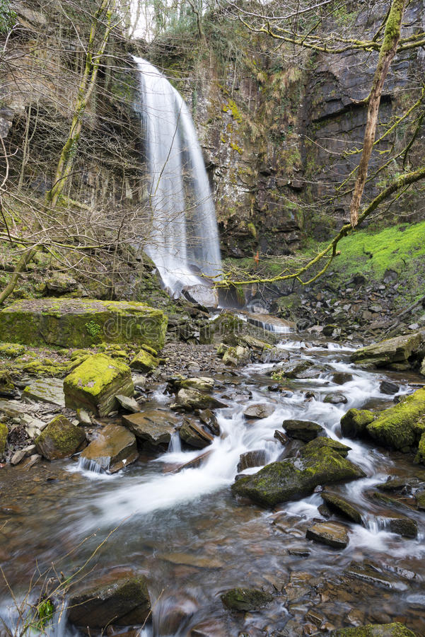 Melincourt Waterfall near Resolven, South Wales. Melincourt Waterfall (Melincwrt Falls) near Resolven royalty free stock image