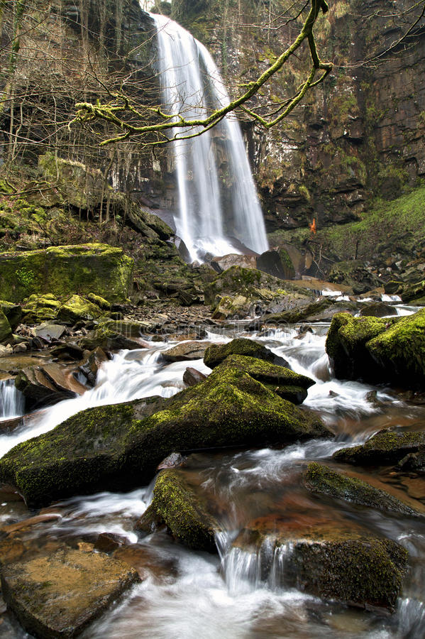 Melincourt waterfall. Resolven, Vale of Neath, South Wales royalty free stock images