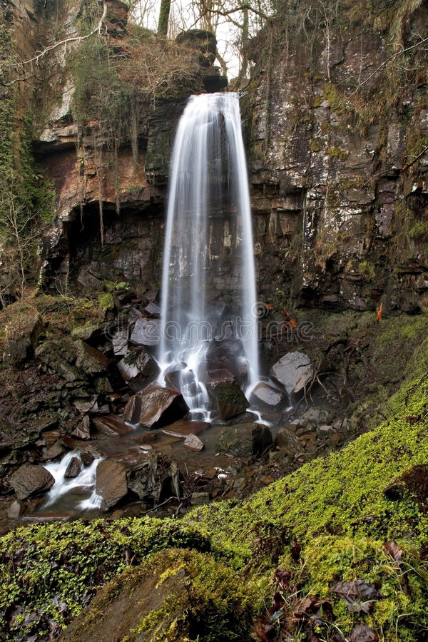 Melincourt waterfall. Resolven, Vale of Neath, South Wales stock photo