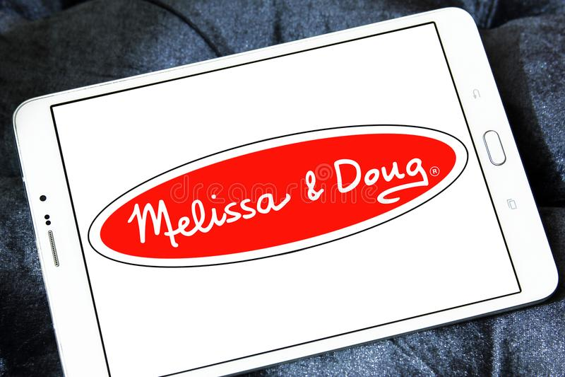 Melissa & Doug toys manufacturer logo. Logo Melissa & Doug toys manufacturer on samsung tablet. Melissa & Doug is an American manufacturer and purveyor of royalty free stock photos