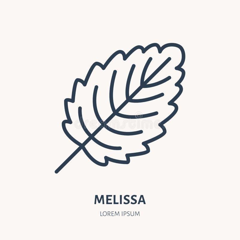 Melissa mieszkania linii ikona Leczniczej ro?liny li?cia wektoru ilustracja Cienieje znaka dla zio?owej medycyny ilustracja wektor