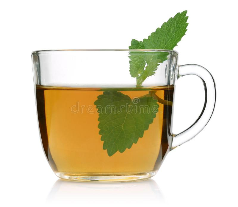 Melissa tea in a glass cup and green lemon balm leaves. On white background royalty free stock photography