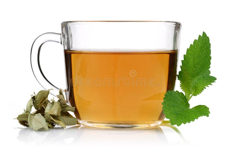 Melissa tea in a glass cup with lemon balm. Leaves royalty free stock image