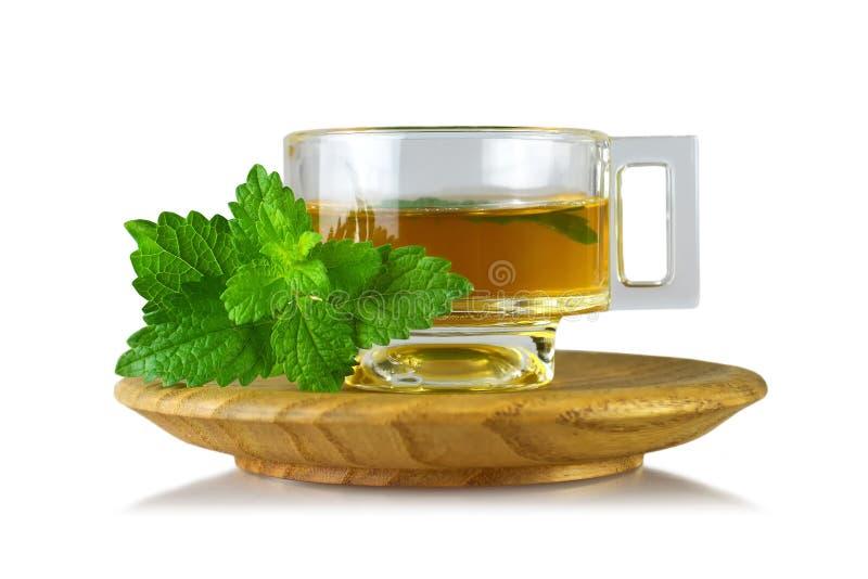 Melissen-Melissa-Tee in der Schale lokalisiert auf weißem Hintergrund stockfotografie
