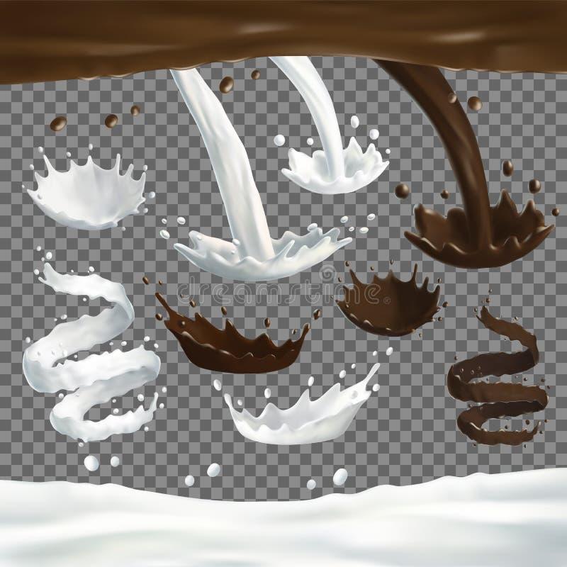 Melk en chocoladestralenplonsen, dalingen en vlekken royalty-vrije illustratie