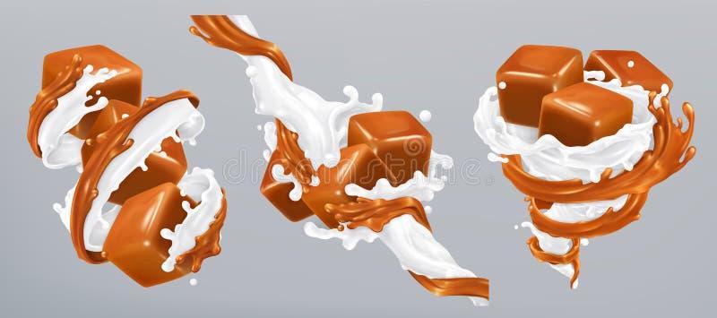Melk en karamelplonsen, 3d vector royalty-vrije illustratie