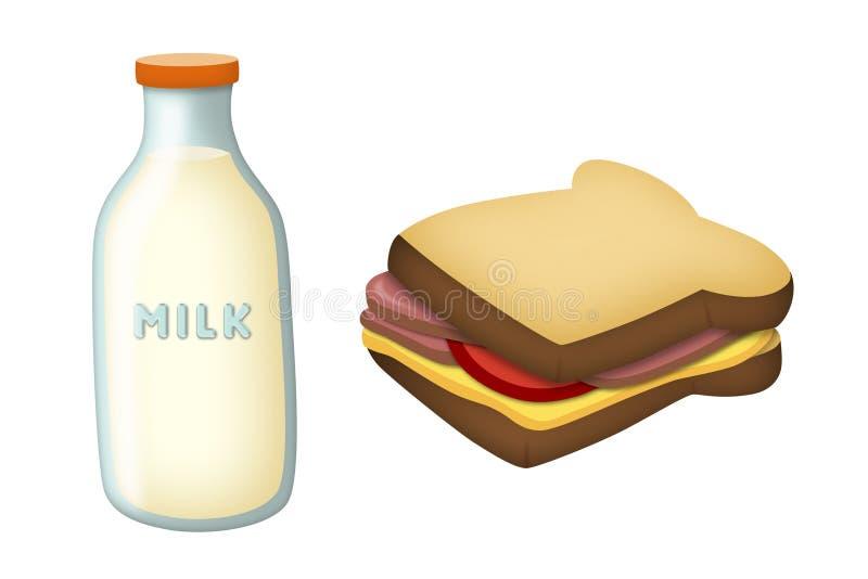 Melk en Sandwich royalty-vrije illustratie