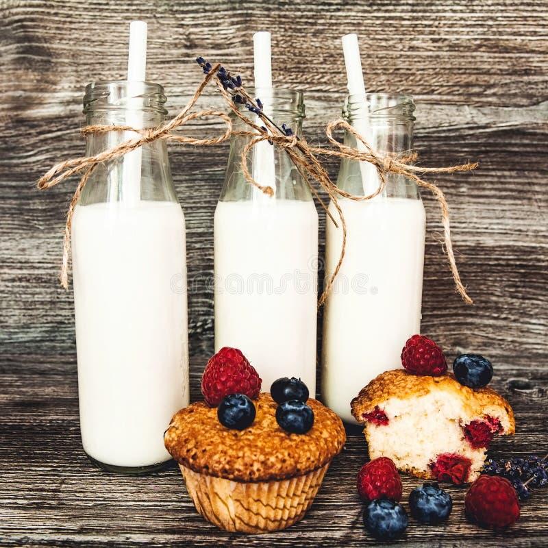 Melk in fles met Muffins met bosbessen en frambozen stock fotografie