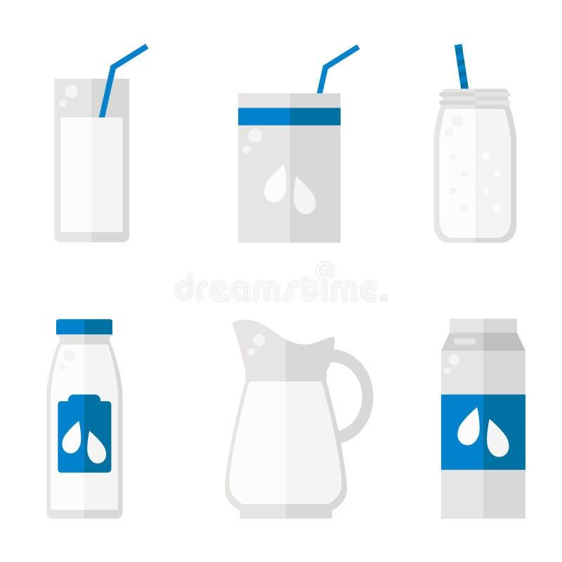 Melk geïsoleerde pictogrammen op witte achtergrond stock illustratie