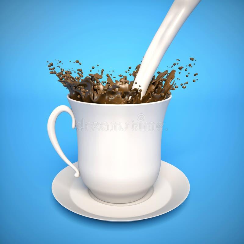 Melk het bespatten in koffie royalty-vrije illustratie