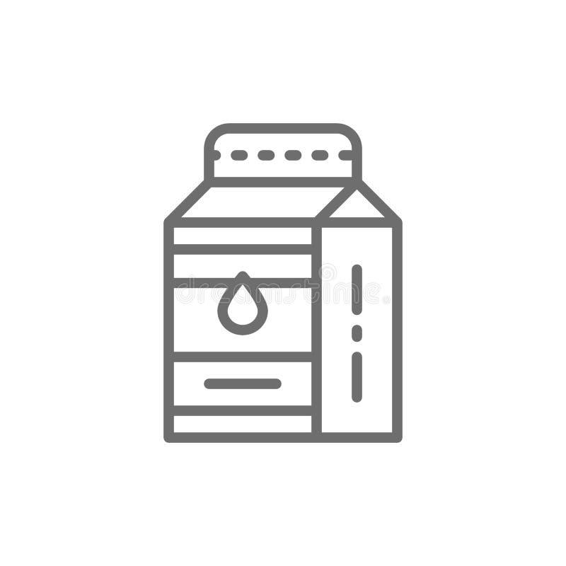Melk, kefir in document vakje lijnpictogram vector illustratie