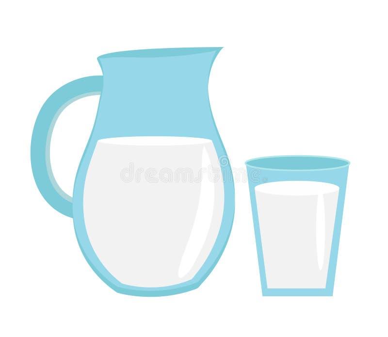 Melk in kruik glas, met pictogram vlakke stijl Geïsoleerdj op witte achtergrond Vector illustratie royalty-vrije illustratie