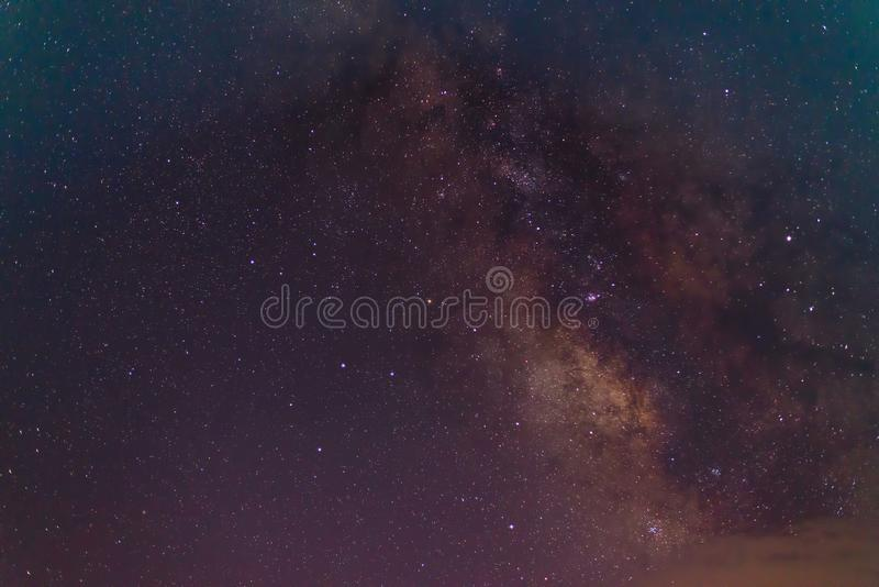 Melkachtige maniermelkweg, Lange blootstellingsfoto stock afbeelding