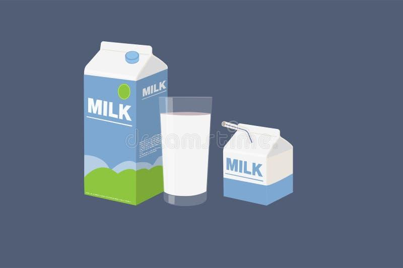 Melkbakstenen met een Glas Geïsoleerde Melk stock illustratie