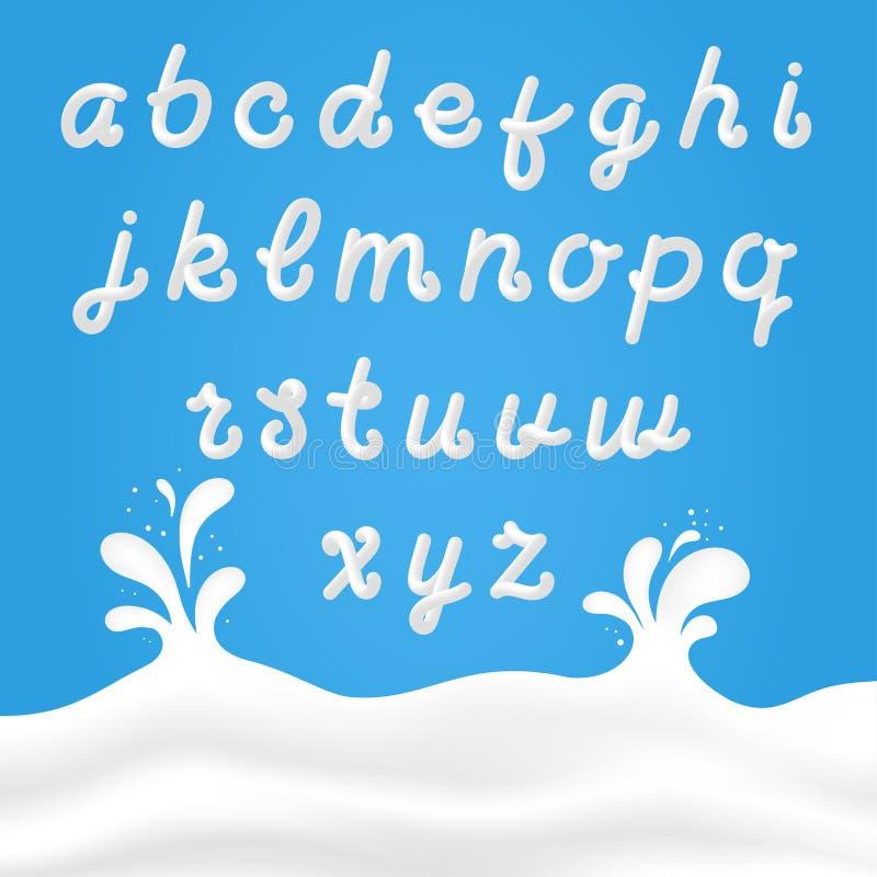 Melkdoopvont met Latijnse brieven Wit melkhand getrokken alfabet met vloeibare brieven op achtergrond met melkplonsen stock illustratie