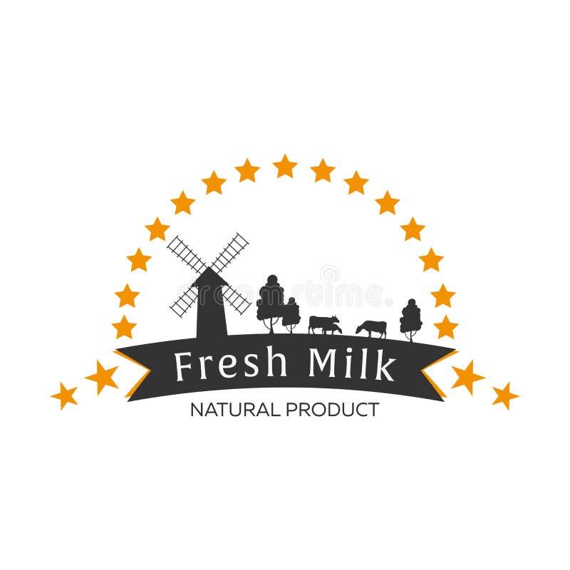 Melken Sie Emblem, Aufkleber, Logo und Gestaltungselemente Frische und natürliche Milch Milchbauernhof Kuhmilch Vektorfirmenzeich vektor abbildung