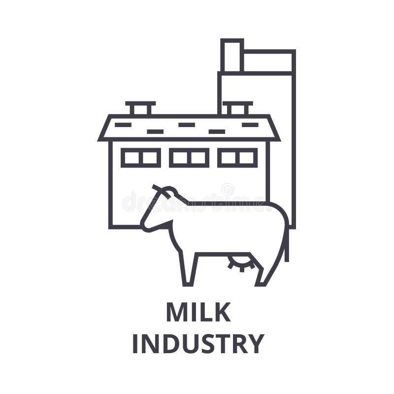 Melken Sie Industrielinie Ikone, Entwurfszeichen, lineares Symbol, Vektor, flache Illustration stock abbildung
