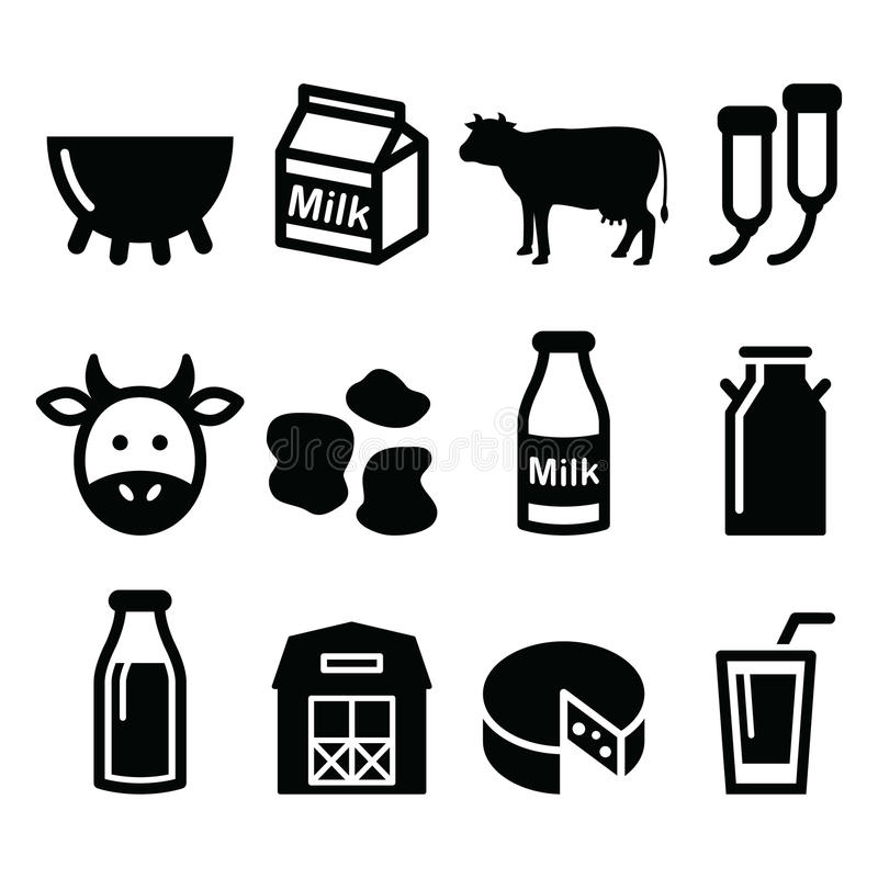 Melken Sie, Käseproduktion, die eingestellten Kuhikonen lizenzfreie abbildung
