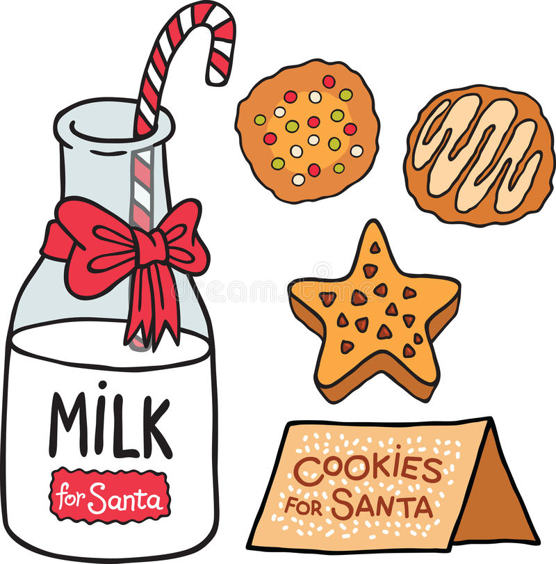 Melkkoekjes voor Santa Claus stock illustratie