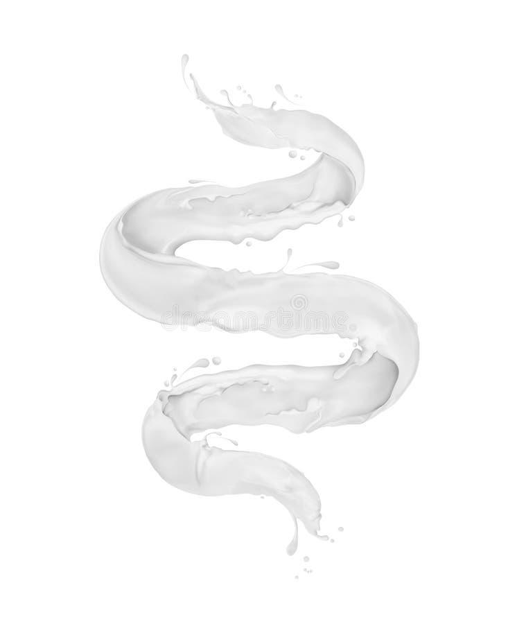 Melkplonsen in de vorm van een spiraal op een witte achtergrond wordt geïsoleerd die royalty-vrije stock foto's