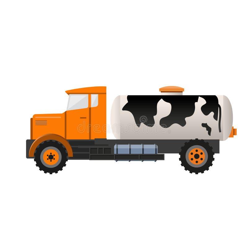 Melktankvrachtwagen stock illustratie