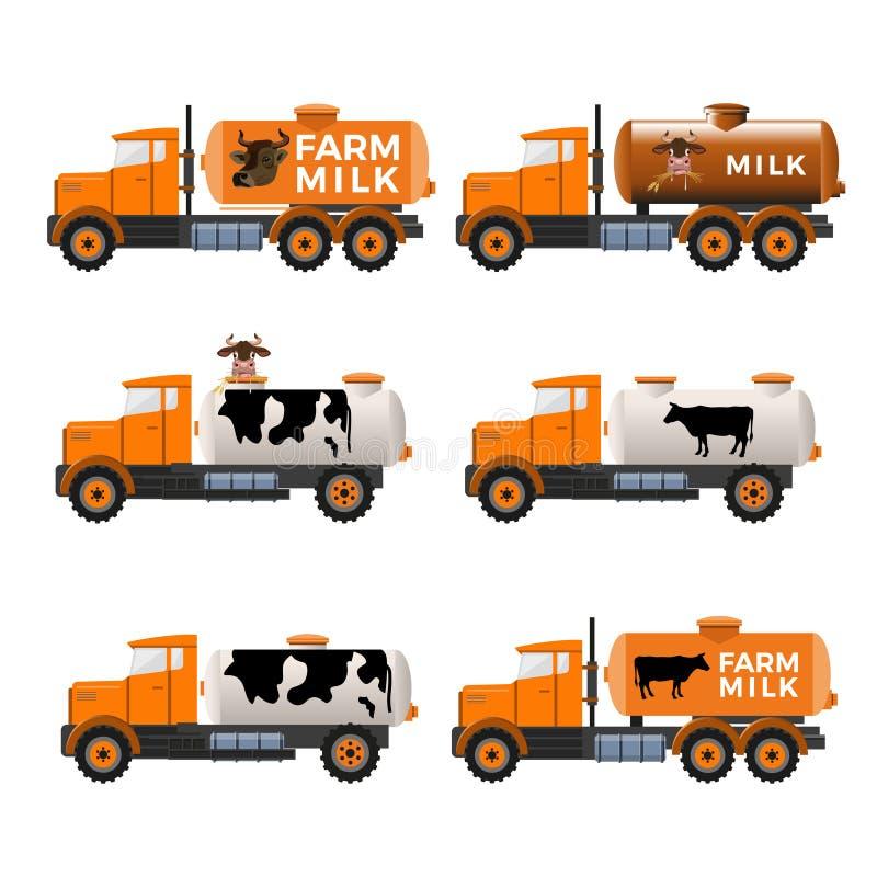 Melktankvrachtwagens stock illustratie