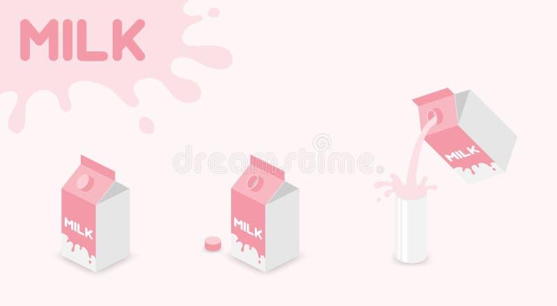 Melkvakje van de de melkaardbei van UHT ultrahoge temperatuur-behandelde de gunst roze kleur, Gietende Melk in het glas en de plo vector illustratie