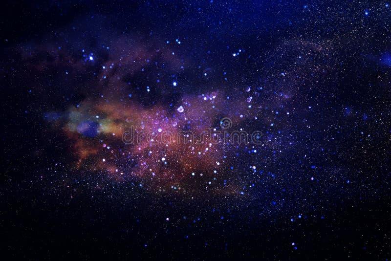 Melkweg en nevel Sterrige kosmische ruimtetextuur als achtergrond stock foto's