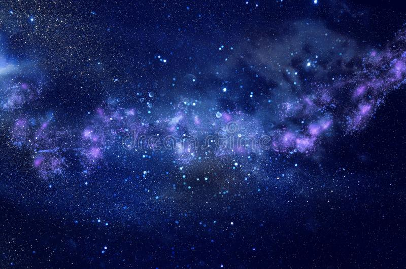 Melkweg en nevel Sterrige kosmische ruimtetextuur als achtergrond royalty-vrije stock foto's