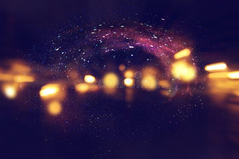 Melkweg en nevel Sterrige kosmische ruimtetextuur als achtergrond stock afbeelding