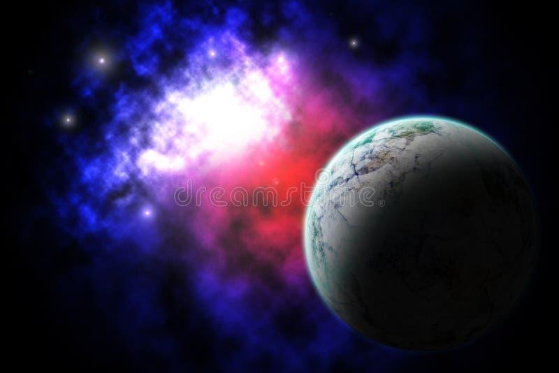 Melkweg en Planeet royalty-vrije stock afbeeldingen