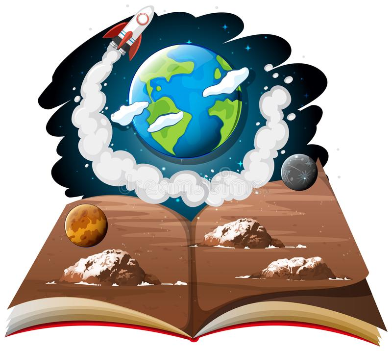 Melkweg met aarde en raketschip op een boek stock illustratie