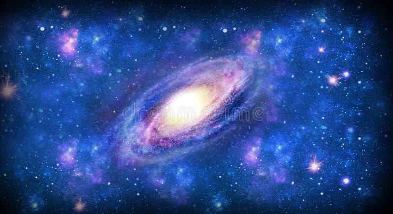 Melkweg in ruimte, zwart gat, heelal stock illustratie
