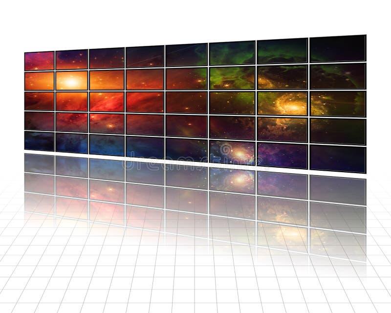Melkwegen en sterren op de schermen in wit royalty-vrije illustratie