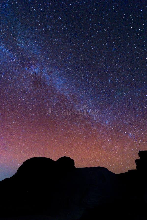 Melkwegmelkweg en Sterren in Nachthemel royalty-vrije stock afbeeldingen