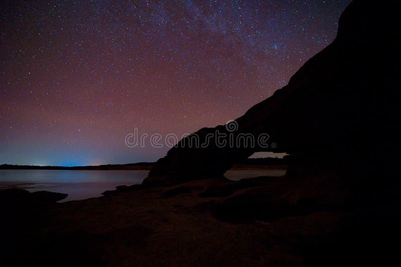 Melkwegmelkweg en Sterren in Nachthemel stock foto's