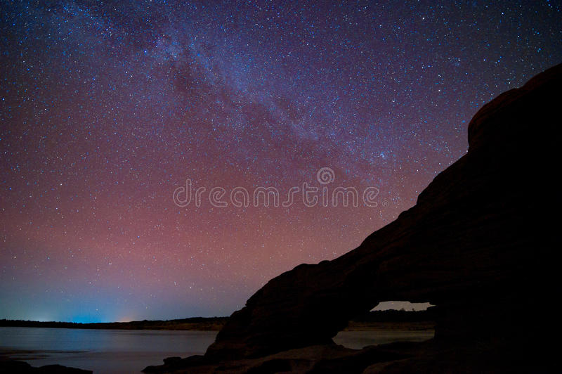 Melkwegmelkweg en Sterren in Nachthemel stock afbeeldingen