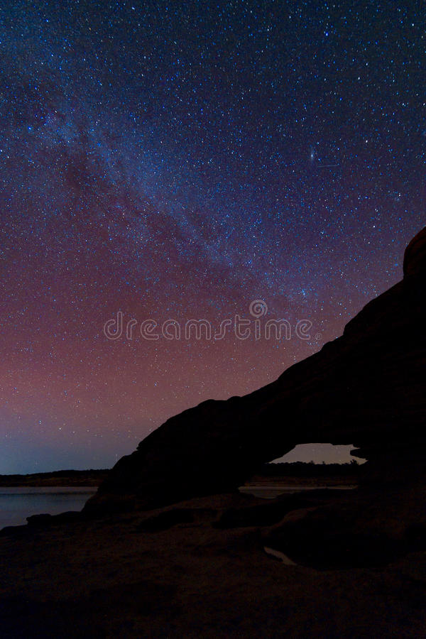 Melkwegmelkweg en Sterren in Nachthemel royalty-vrije stock foto's