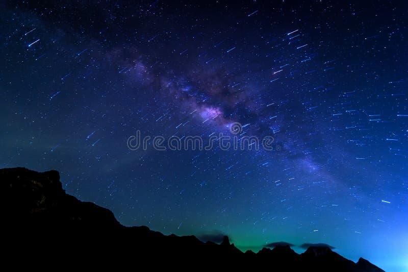 Melkwegmelkweg en Sterren Trai stock fotografie