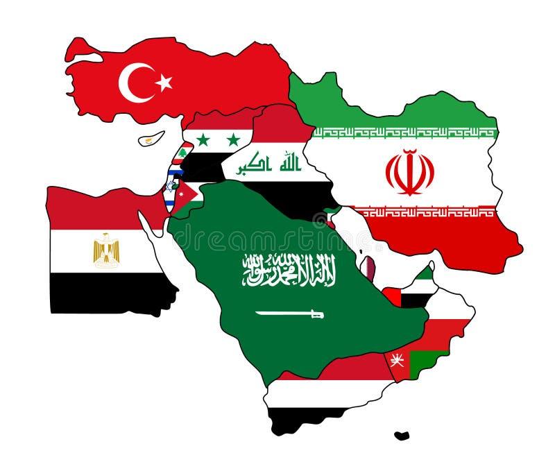 Mellanösten flaggaöversikt stock illustrationer