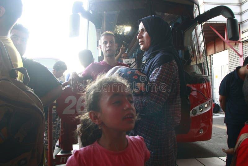 Mellanösten flyktingar royaltyfria foton