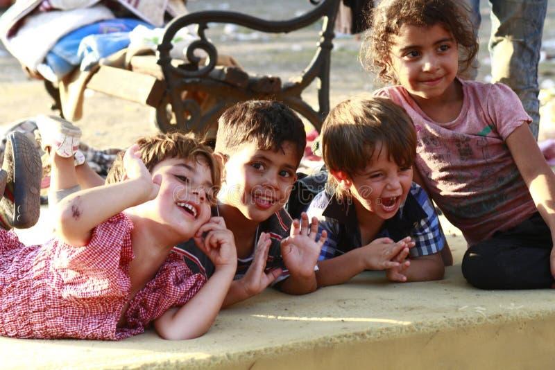 Mellanösten flyktingar fotografering för bildbyråer