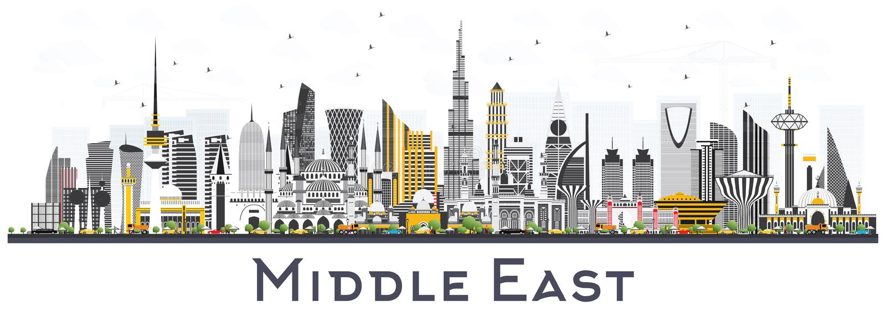 Mellanösten stadshorisont med färgbyggnader som isoleras på vit royaltyfri illustrationer