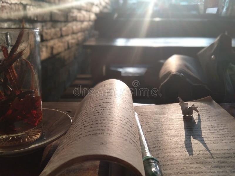 Mellan drinken av traditional& x27; s, bok och origami i väntansolnedgång arkivbilder