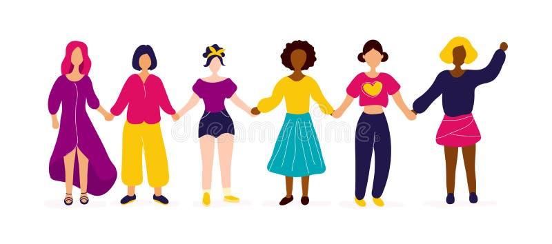 Mellan skilda raser grupp av kvinnor som rymmer h?nder royaltyfri illustrationer
