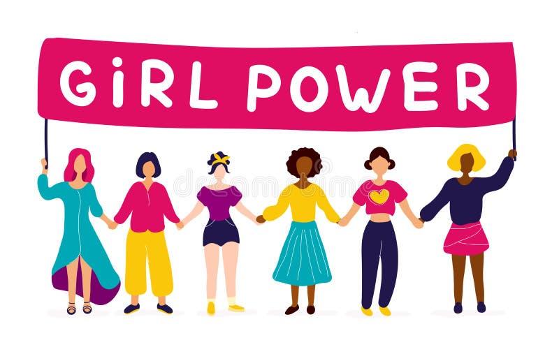 Mellan skilda raser grupp av kvinnor som rymmer h royaltyfri illustrationer