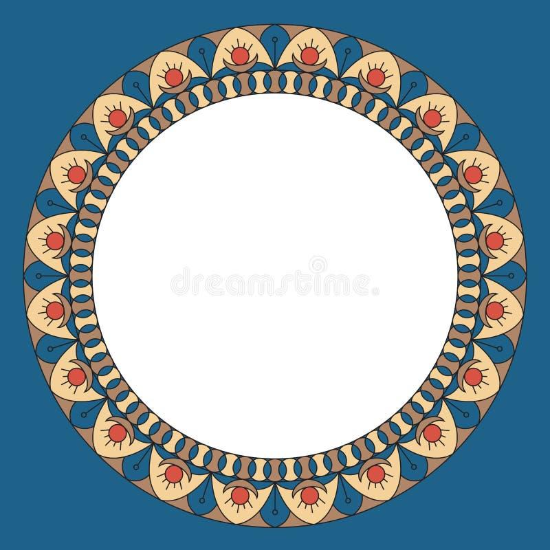 Mellanrum för design Rund dekorativ ram med den etniska prydnaden Stiltappning färgrik illustration vektor illustrationer