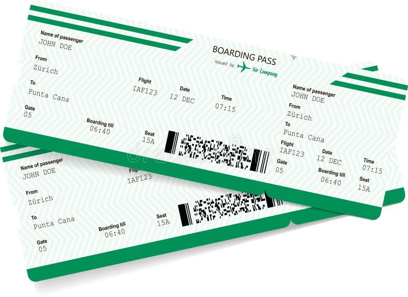 Mellanrum för flygplanbiljett Grönt logipasserande royaltyfri illustrationer